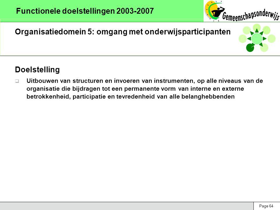 Page 64 Functionele doelstellingen 2003-2007 Organisatiedomein 5: omgang met onderwijsparticipanten Doelstelling  Uitbouwen van structuren en invoere
