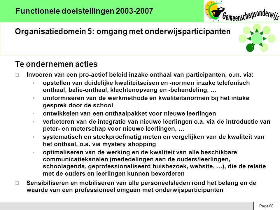 Page 66 Functionele doelstellingen 2003-2007 Organisatiedomein 5: omgang met onderwijsparticipanten Te ondernemen acties  Invoeren van een pro-actief