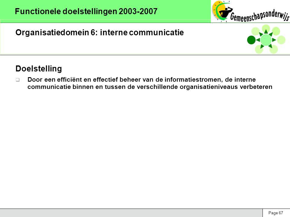 Page 67 Functionele doelstellingen 2003-2007 Organisatiedomein 6: interne communicatie Doelstelling  Door een efficiënt en effectief beheer van de informatiestromen, de interne communicatie binnen en tussen de verschillende organisatieniveaus verbeteren