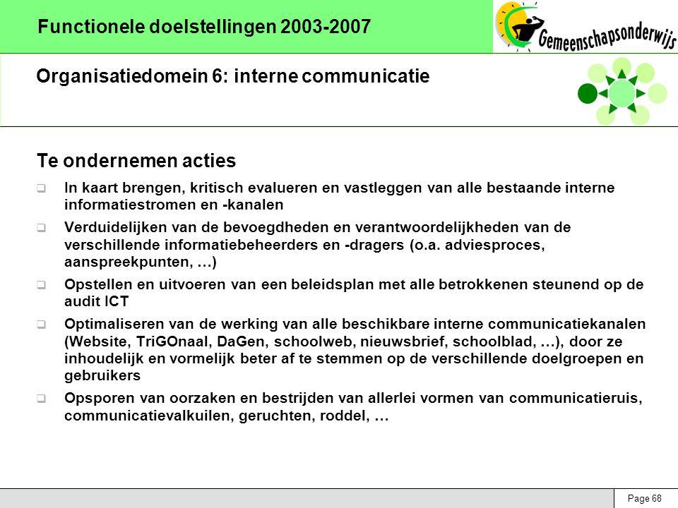 Page 68 Functionele doelstellingen 2003-2007 Organisatiedomein 6: interne communicatie Te ondernemen acties  In kaart brengen, kritisch evalueren en vastleggen van alle bestaande interne informatiestromen en -kanalen  Verduidelijken van de bevoegdheden en verantwoordelijkheden van de verschillende informatiebeheerders en -dragers (o.a.