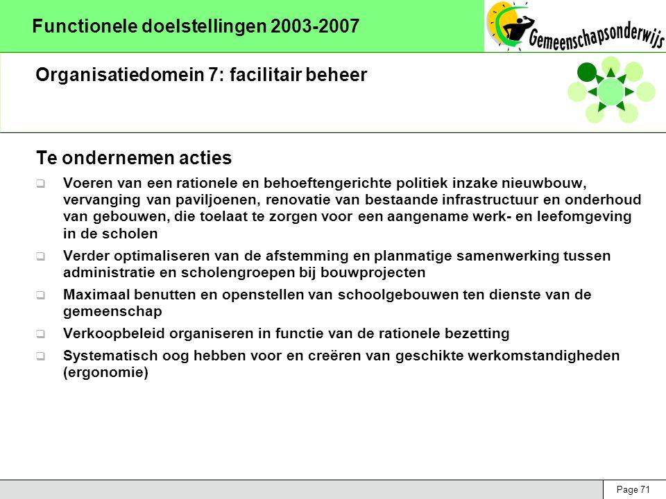 Page 71 Functionele doelstellingen 2003-2007 Organisatiedomein 7: facilitair beheer Te ondernemen acties  Voeren van een rationele en behoeftengerichte politiek inzake nieuwbouw, vervanging van paviljoenen, renovatie van bestaande infrastructuur en onderhoud van gebouwen, die toelaat te zorgen voor een aangename werk- en leefomgeving in de scholen  Verder optimaliseren van de afstemming en planmatige samenwerking tussen administratie en scholengroepen bij bouwprojecten  Maximaal benutten en openstellen van schoolgebouwen ten dienste van de gemeenschap  Verkoopbeleid organiseren in functie van de rationele bezetting  Systematisch oog hebben voor en creëren van geschikte werkomstandigheden (ergonomie)