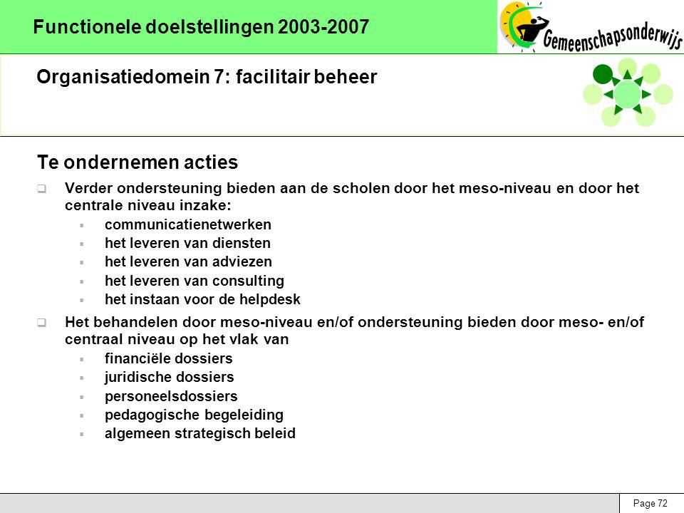 Page 72 Functionele doelstellingen 2003-2007 Organisatiedomein 7: facilitair beheer Te ondernemen acties  Verder ondersteuning bieden aan de scholen door het meso-niveau en door het centrale niveau inzake:  communicatienetwerken  het leveren van diensten  het leveren van adviezen  het leveren van consulting  het instaan voor de helpdesk  Het behandelen door meso-niveau en/of ondersteuning bieden door meso- en/of centraal niveau op het vlak van  financiële dossiers  juridische dossiers  personeelsdossiers  pedagogische begeleiding  algemeen strategisch beleid