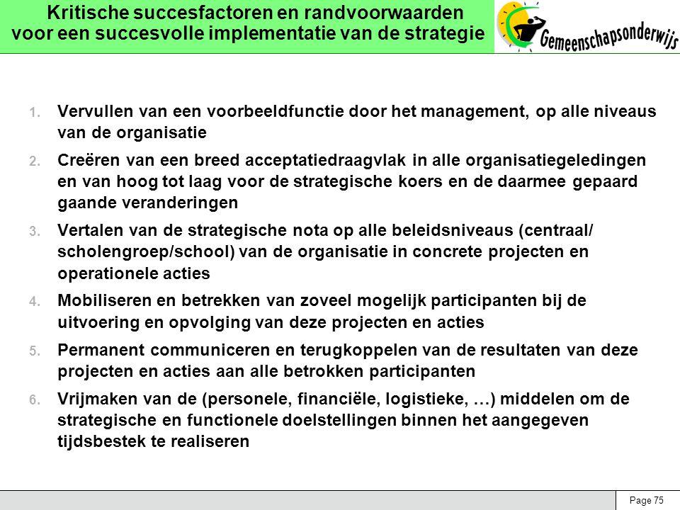 Page 75 Kritische succesfactoren en randvoorwaarden voor een succesvolle implementatie van de strategie 1. Vervullen van een voorbeeldfunctie door het