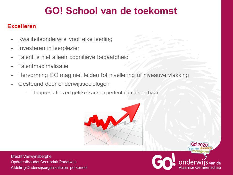 GO! School van de toekomst Brecht Vanwynsberghe Opdrachthouder Secundair Onderwijs Afdeling Onderwijsorganisatie en -personeel Excelleren -Kwaliteitso