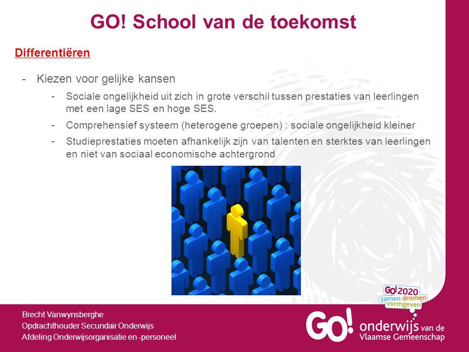 GO! School van de toekomst Brecht Vanwynsberghe Opdrachthouder Secundair Onderwijs Afdeling Onderwijsorganisatie en -personeel Differentiëren -Kiezen