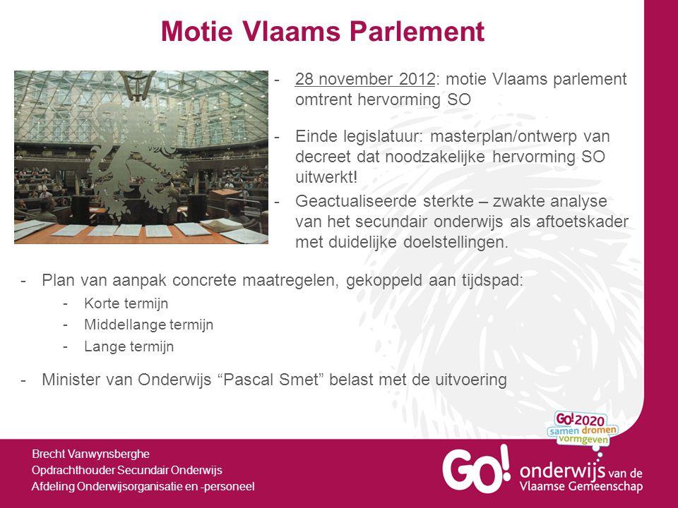 Motie Vlaams Parlement Brecht Vanwynsberghe Opdrachthouder Secundair Onderwijs Afdeling Onderwijsorganisatie en -personeel -Geactualiseerde sterkte –