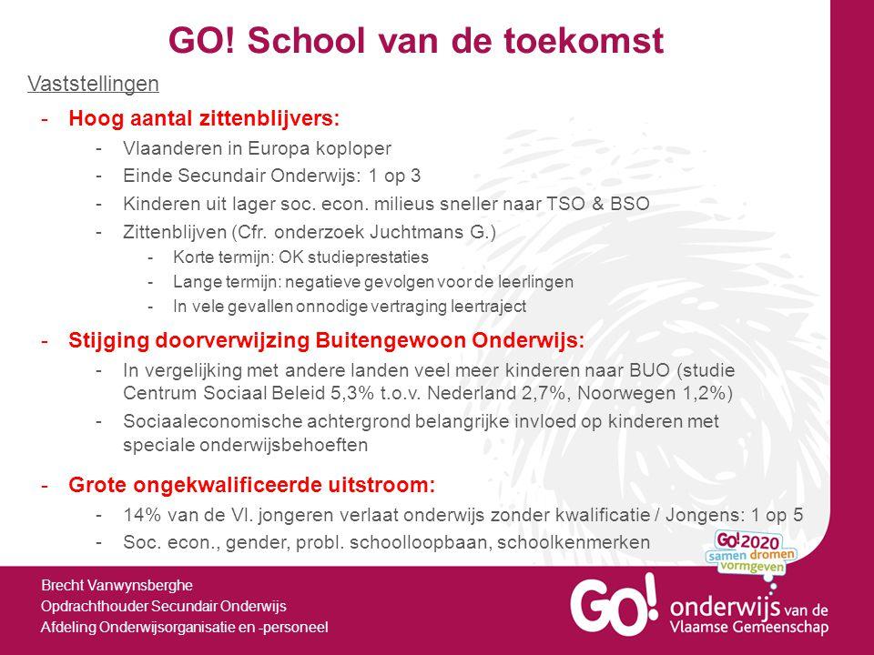 GO! School van de toekomst Brecht Vanwynsberghe Opdrachthouder Secundair Onderwijs Afdeling Onderwijsorganisatie en -personeel -Hoog aantal zittenblij