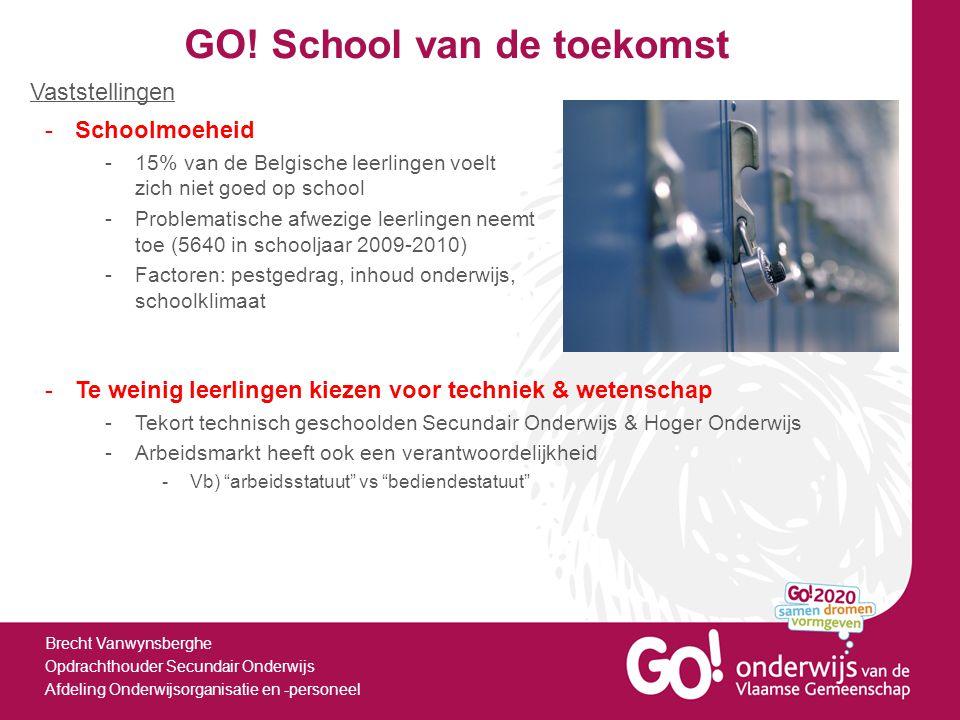 GO! School van de toekomst Brecht Vanwynsberghe Opdrachthouder Secundair Onderwijs Afdeling Onderwijsorganisatie en -personeel -Schoolmoeheid -15% van