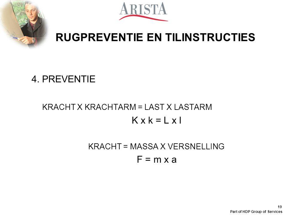 18 Part of HDP Group of Services RUGPREVENTIE EN TILINSTRUCTIES 4. PREVENTIE VERLAGING VAN DE (RUG)BELASTING GOEDE HOUDING EN TECHNIEK (thuis,werk) DO
