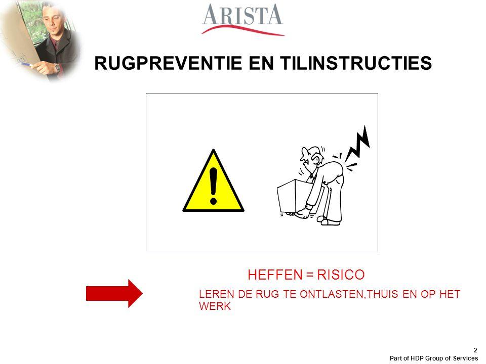 1 Part of HDP Group of Services Datum Rugpreventie en tilinstructies AristA, uw welzijnspartner Externe Dienst voor Preventie en Bescherming Lic. Glen