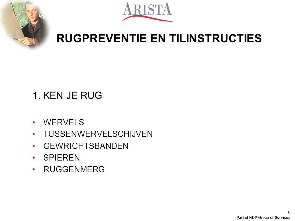 8 Part of HDP Group of Services RUGPREVENTIE EN TILINSTRUCTIES 1.