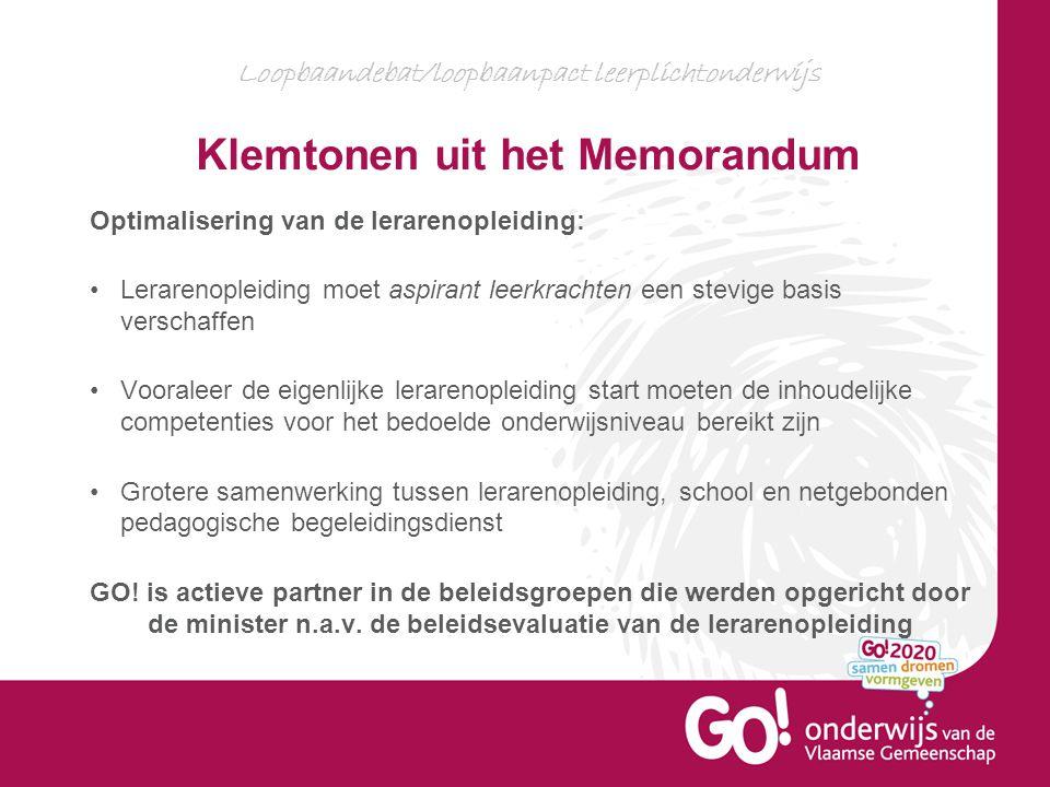 Loopbaandebat/loopbaanpact leerplichtonderwijs Klemtonen uit het Memorandum Optimalisering van de lerarenopleiding: Lerarenopleiding moet aspirant lee