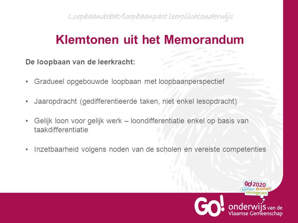 Loopbaandebat/loopbaanpact leerplichtonderwijs Klemtonen uit het Memorandum De loopbaan van de leerkracht: Gradueel opgebouwde loopbaan met loopbaanpe