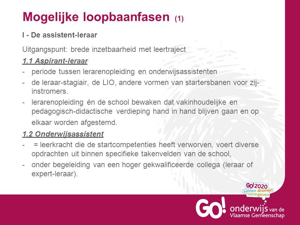 Mogelijke loopbaanfasen (1) I - De assistent-leraar Uitgangspunt: brede inzetbaarheid met leertraject 1.1 Aspirant-leraar -periode tussen lerarenoplei