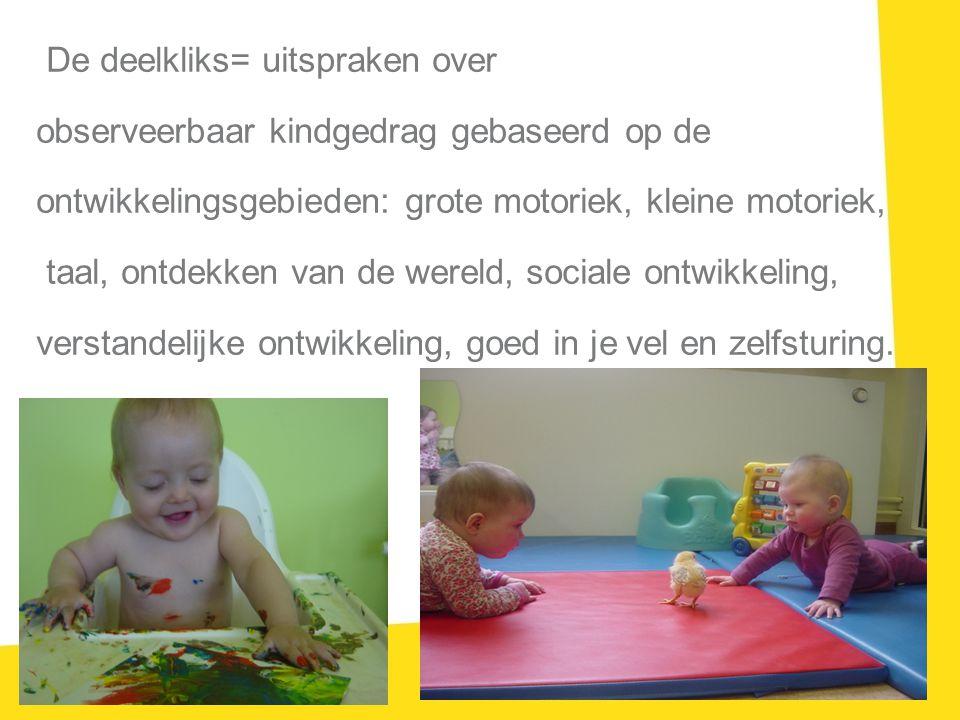 De deelkliks= uitspraken over observeerbaar kindgedrag gebaseerd op de ontwikkelingsgebieden: grote motoriek, kleine motoriek, taal, ontdekken van de