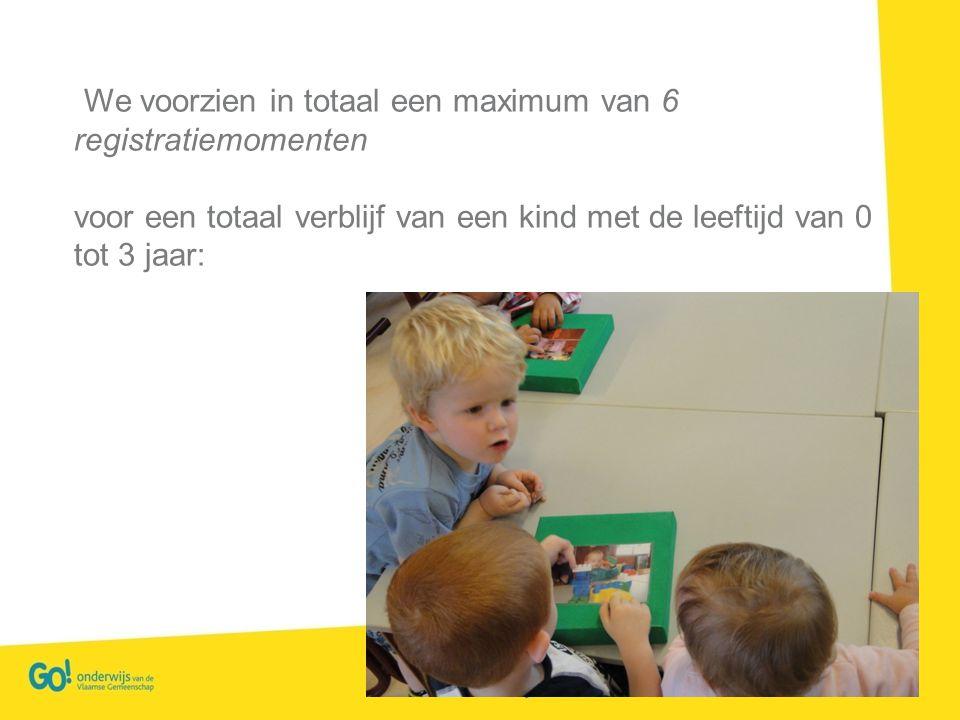 We voorzien in totaal een maximum van 6 registratiemomenten voor een totaal verblijf van een kind met de leeftijd van 0 tot 3 jaar: