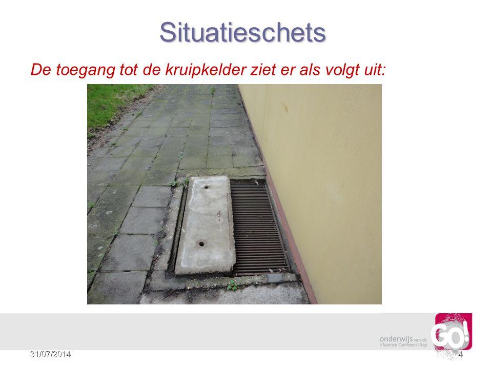 3 De toegang tot de kruipkelder ziet er als volgt uit: Situatieschets 31/07/2014