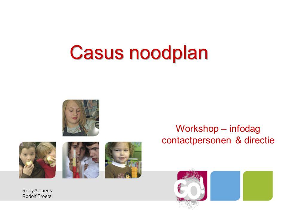 Casus noodplan Workshop – infodag contactpersonen & directie Rudy Aelaerts Rodolf Broers