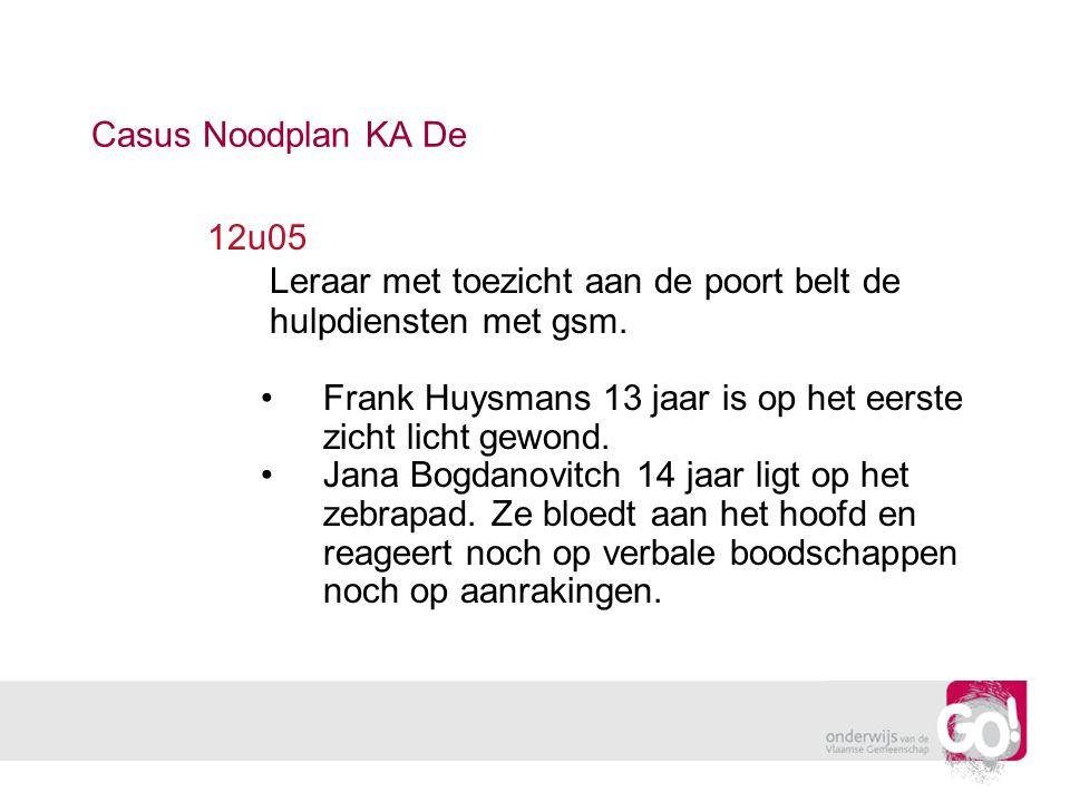 12u05 Leraar met toezicht aan de poort belt de hulpdiensten met gsm. Frank Huysmans 13 jaar is op het eerste zicht licht gewond. Jana Bogdanovitch 14