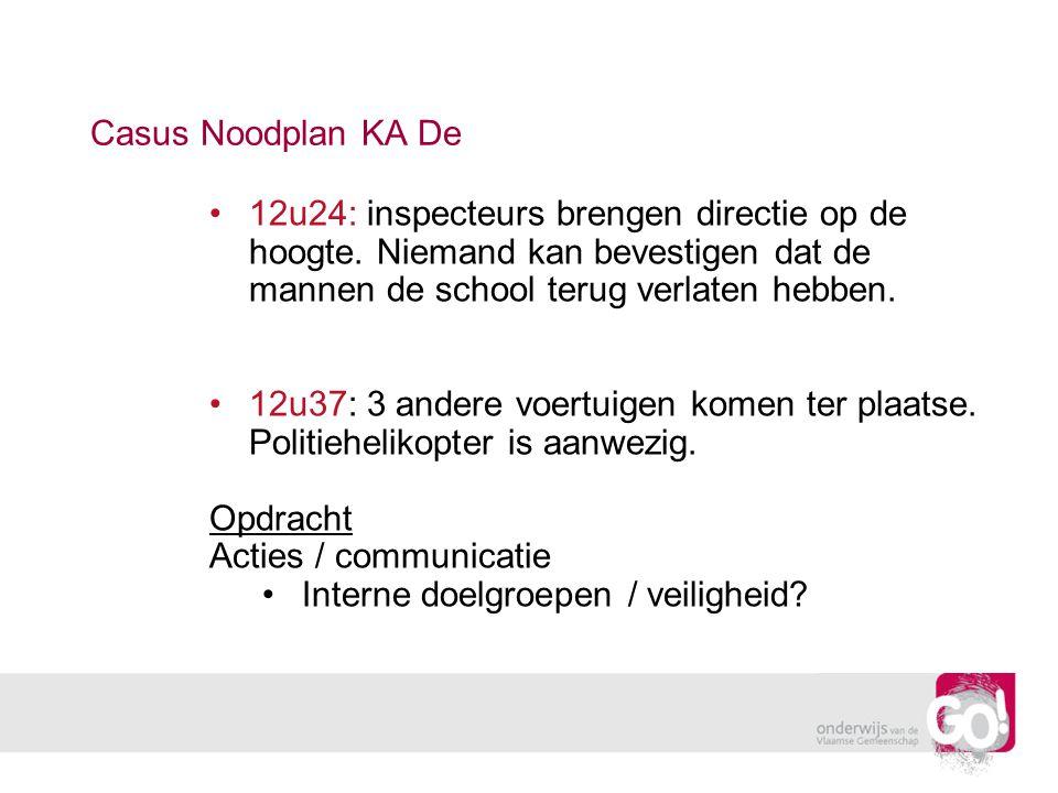 Casus Noodplan KA De 12u24: inspecteurs brengen directie op de hoogte. Niemand kan bevestigen dat de mannen de school terug verlaten hebben. 12u37: 3