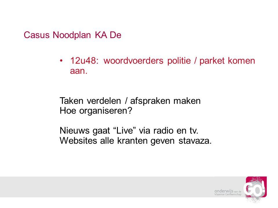 """Casus Noodplan KA De 12u48: woordvoerders politie / parket komen aan. Taken verdelen / afspraken maken Hoe organiseren? Nieuws gaat """"Live"""" via radio e"""