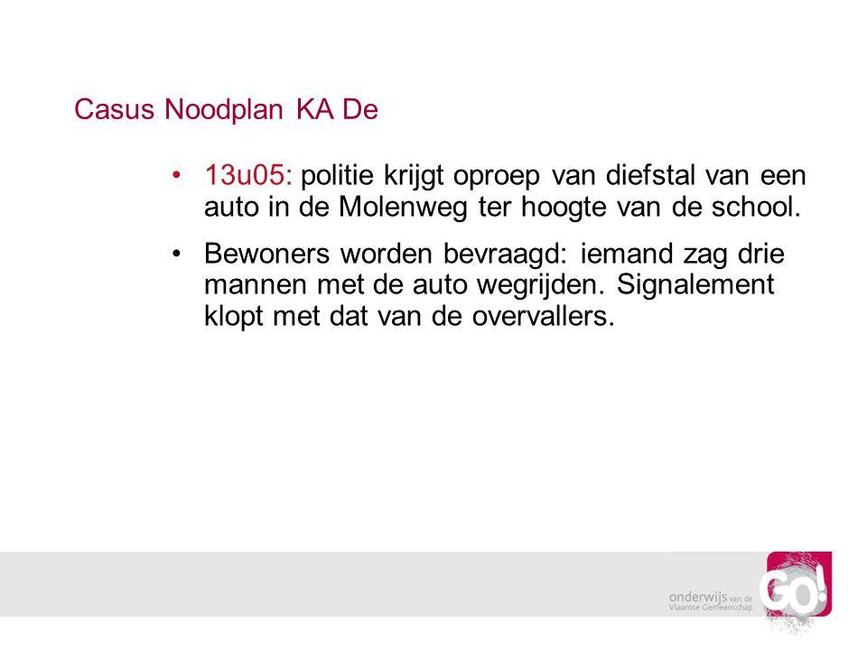 Casus Noodplan KA De 13u05: politie krijgt oproep van diefstal van een auto in de Molenweg ter hoogte van de school. Bewoners worden bevraagd: iemand