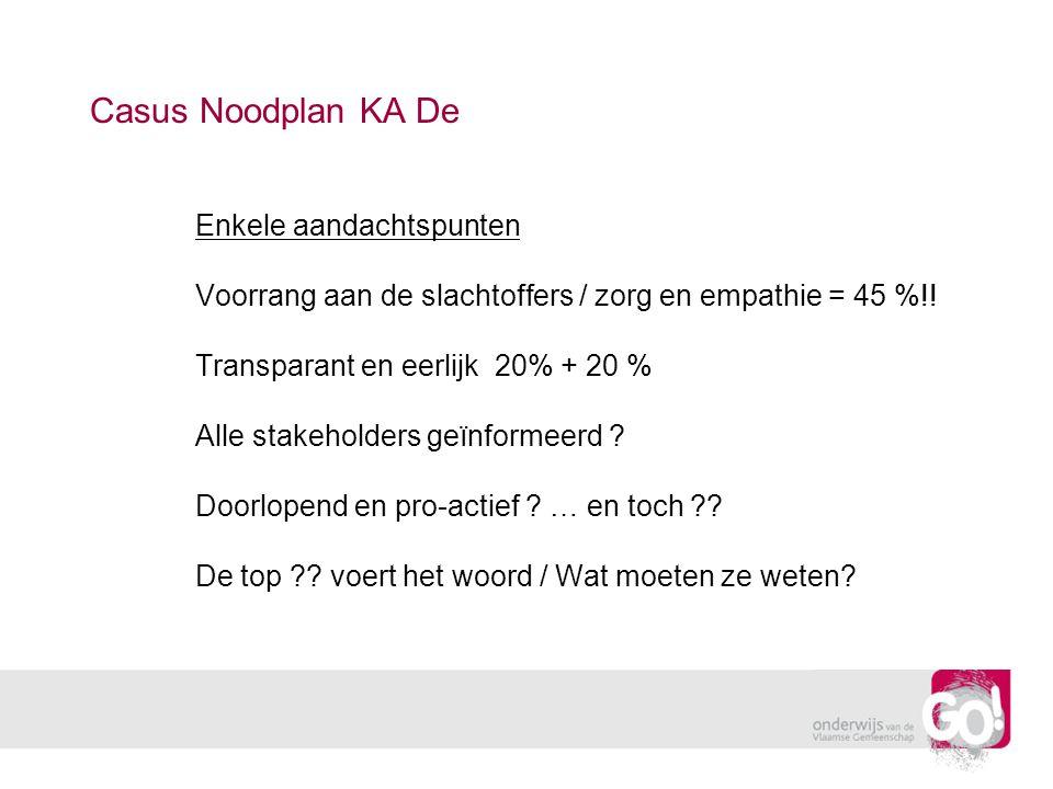 Casus Noodplan KA De Enkele aandachtspunten Voorrang aan de slachtoffers / zorg en empathie = 45 %!! Transparant en eerlijk 20% + 20 % Alle stakeholde