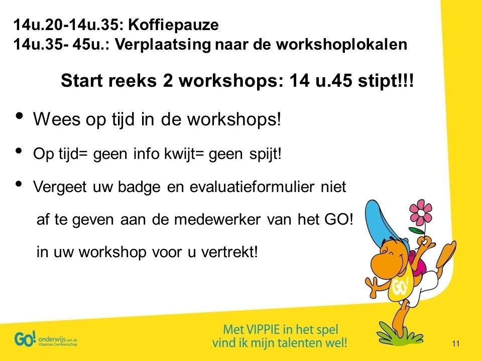 11 Start reeks 2 workshops: 14 u.45 stipt!!! Wees op tijd in de workshops! Op tijd= geen info kwijt= geen spijt! Vergeet uw badge en evaluatieformulie
