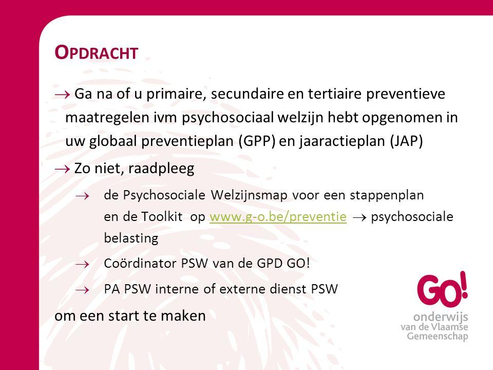 O PDRACHT  Ga na of u primaire, secundaire en tertiaire preventieve maatregelen ivm psychosociaal welzijn hebt opgenomen in uw globaal preventieplan