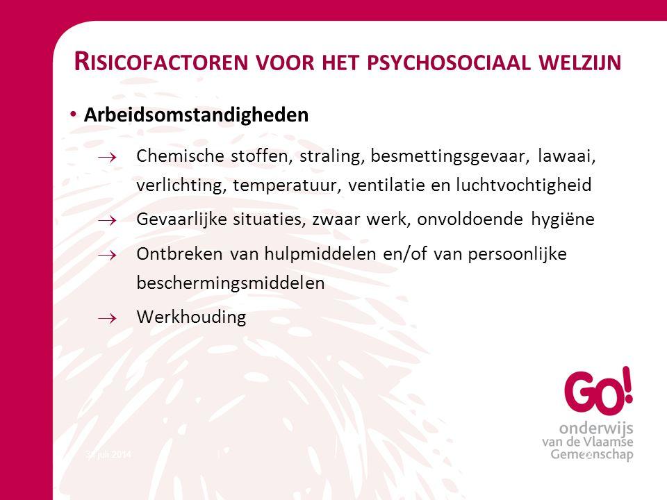 31 juli 201422 R ISICOFACTOREN VOOR HET PSYCHOSOCIAAL WELZIJN Arbeidsomstandigheden  Chemische stoffen, straling, besmettingsgevaar, lawaai, verlicht