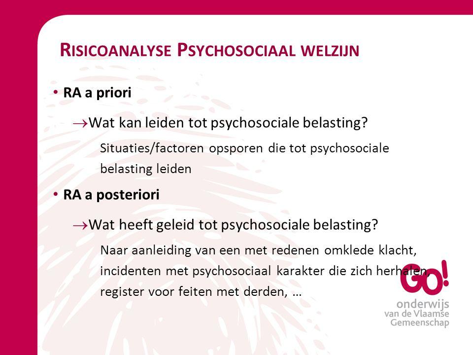 R ISICOANALYSE P SYCHOSOCIAAL WELZIJN RA a priori  Wat kan leiden tot psychosociale belasting? Situaties/factoren opsporen die tot psychosociale bela