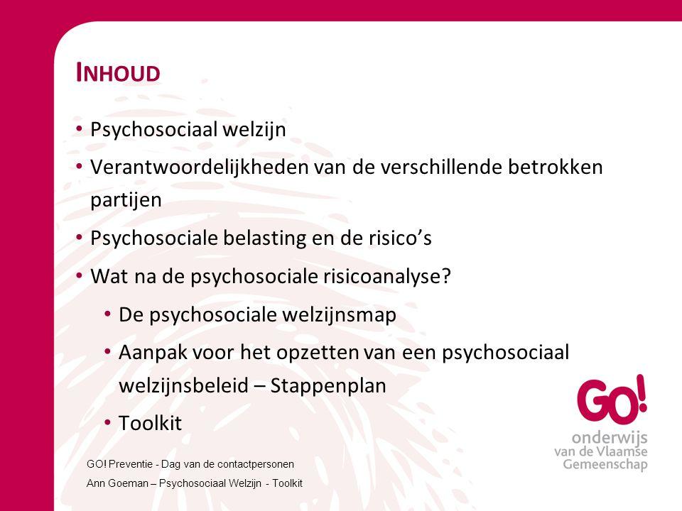 I NHOUD Psychosociaal welzijn Verantwoordelijkheden van de verschillende betrokken partijen Psychosociale belasting en de risico's Wat na de psychosoc