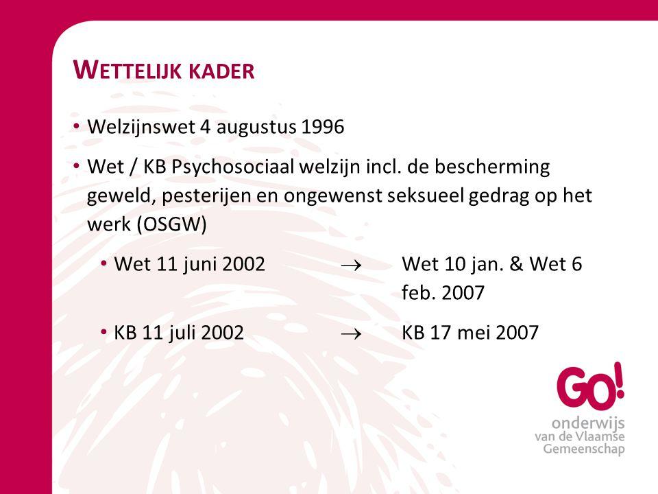 W ETTELIJK KADER Welzijnswet 4 augustus 1996 Wet / KB Psychosociaal welzijn incl. de bescherming geweld, pesterijen en ongewenst seksueel gedrag op he