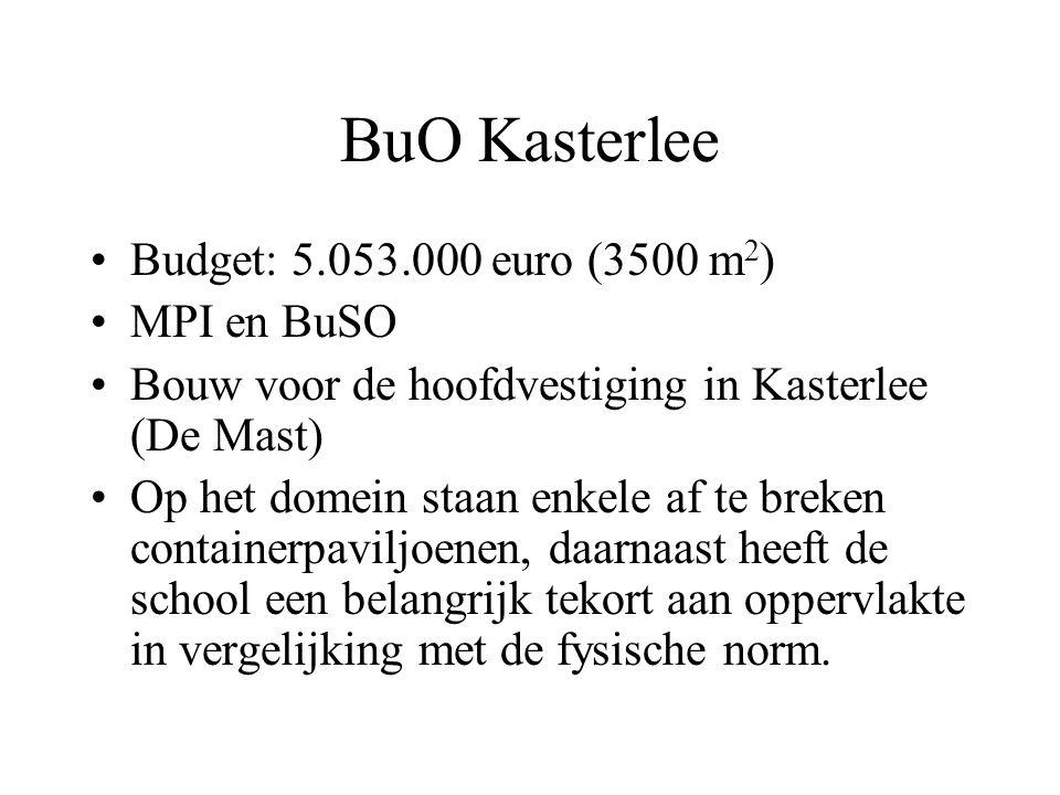 BuO Kasterlee Budget: 5.053.000 euro (3500 m 2 ) MPI en BuSO Bouw voor de hoofdvestiging in Kasterlee (De Mast) Op het domein staan enkele af te breke