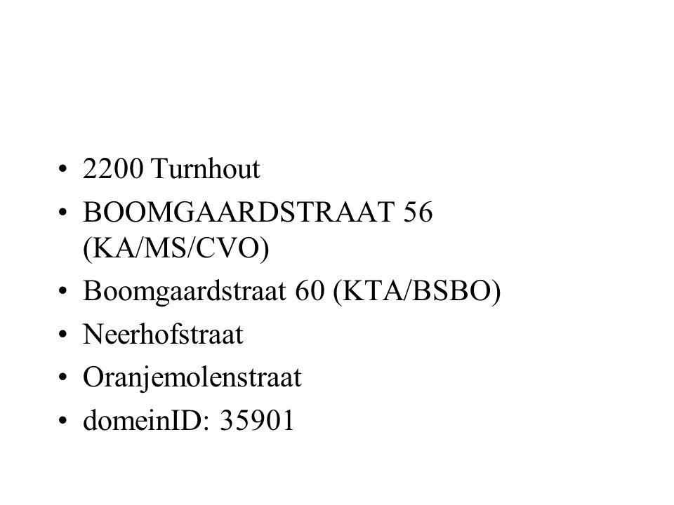 2200 Turnhout BOOMGAARDSTRAAT 56 (KA/MS/CVO) Boomgaardstraat 60 (KTA/BSBO) Neerhofstraat Oranjemolenstraat domeinID: 35901