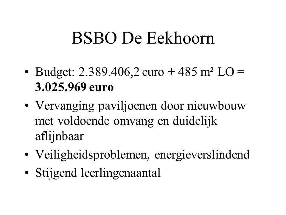BSBO De Eekhoorn Budget: 2.389.406,2 euro + 485 m² LO = 3.025.969 euro Vervanging paviljoenen door nieuwbouw met voldoende omvang en duidelijk aflijnb