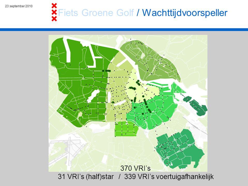 23 september 2010 Leidseplein Spui 370 VRI's 31 VRI's (half)star / 339 VRI's voertuigafhankelijk Fiets Groene Golf / Wachttijdvoorspeller
