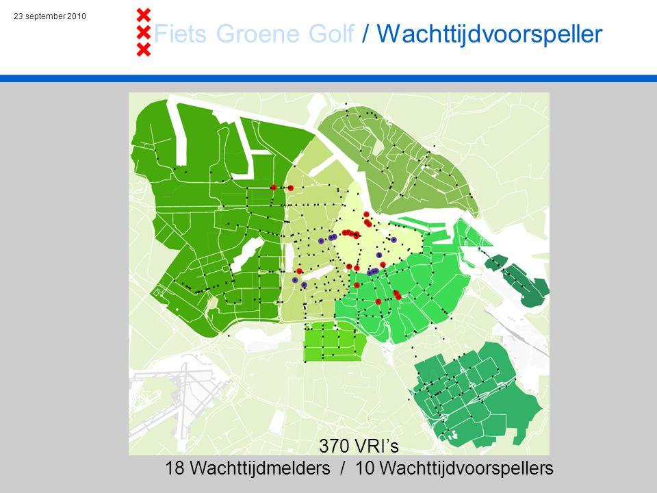23 september 2010 370 VRI's 18 Wachttijdmelders / 10 Wachttijdvoorspellers Fiets Groene Golf / Wachttijdvoorspeller