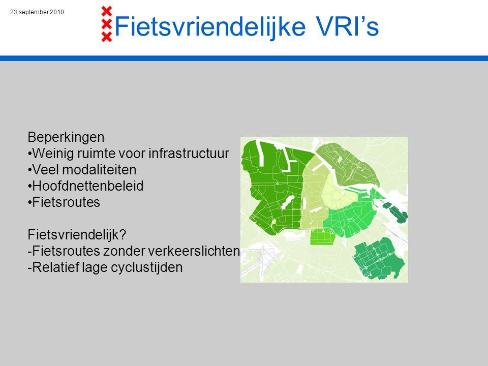 23 september 2010 Fietsvriendelijke VRI's Beperkingen Weinig ruimte voor infrastructuur Veel modaliteiten Hoofdnettenbeleid Fietsroutes Fietsvriendelijk.