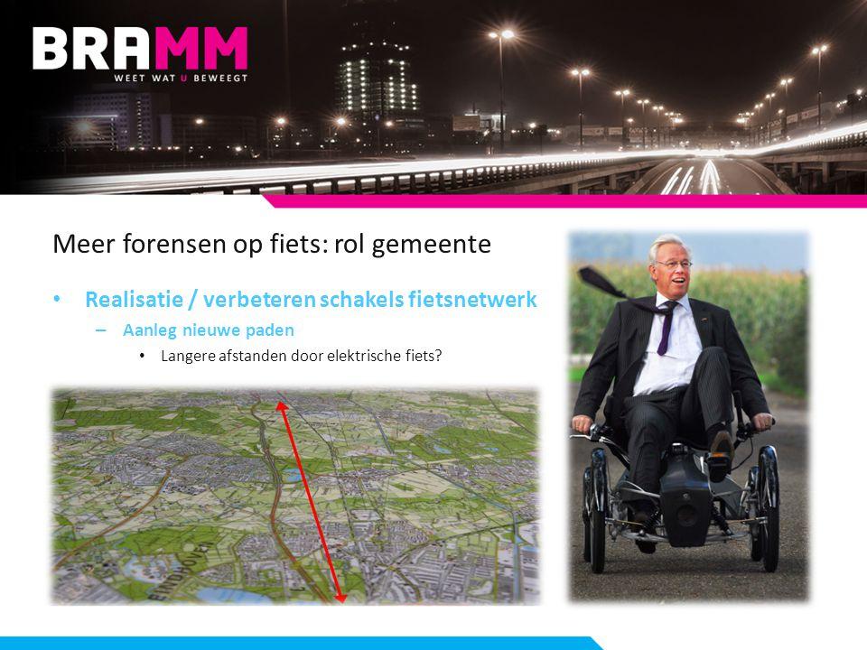 Meer forensen op fiets: rol gemeente Realisatie / verbeteren schakels fietsnetwerk – Aanleg nieuwe paden Langere afstanden door elektrische fiets