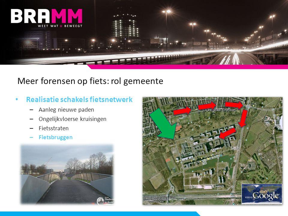 Meer forensen op fiets: rol gemeente Realisatie schakels fietsnetwerk – Aanleg nieuwe paden – Ongelijkvloerse kruisingen – Fietsstraten – Fietsbruggen