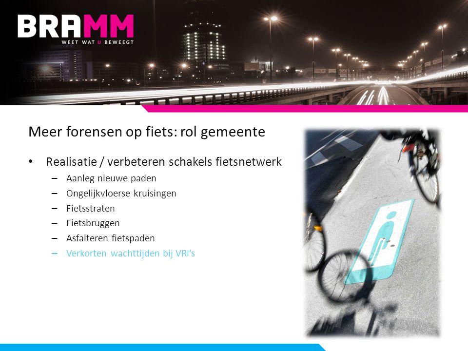 Meer forensen op fiets: rol gemeente Realisatie / verbeteren schakels fietsnetwerk – Aanleg nieuwe paden – Ongelijkvloerse kruisingen – Fietsstraten – Fietsbruggen – Asfalteren fietspaden – Verkorten wachttijden bij VRI's