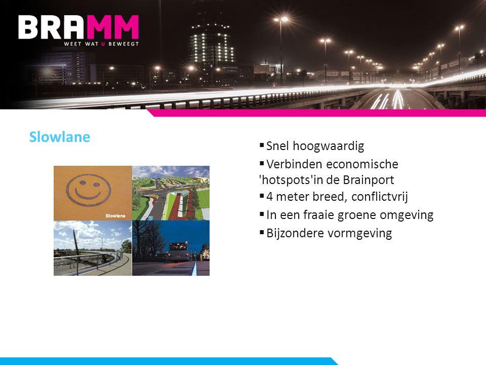 Slowlane  Snel hoogwaardig  Verbinden economische hotspots in de Brainport  4 meter breed, conflictvrij  In een fraaie groene omgeving  Bijzondere vormgeving