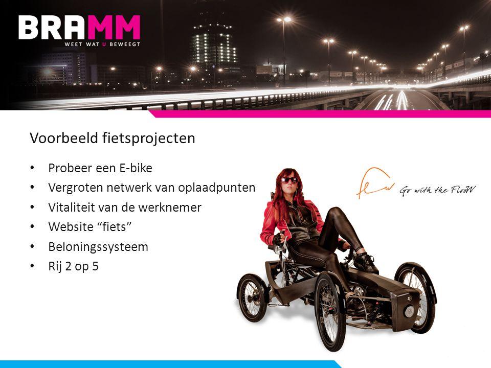 Voorbeeld fietsprojecten Probeer een E-bike Vergroten netwerk van oplaadpunten Vitaliteit van de werknemer Website fiets Beloningssysteem Rij 2 op 5