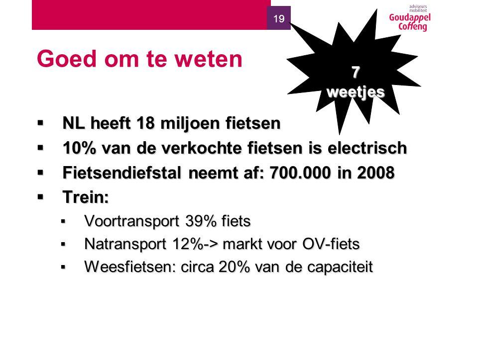 19 Goed om te weten  NL heeft 18 miljoen fietsen  10% van de verkochte fietsen is electrisch  Fietsendiefstal neemt af: 700.000 in 2008  Trein: ▪Voortransport 39% fiets ▪Natransport 12%-> markt voor OV-fiets ▪Weesfietsen: circa 20% van de capaciteit 7 weetjes