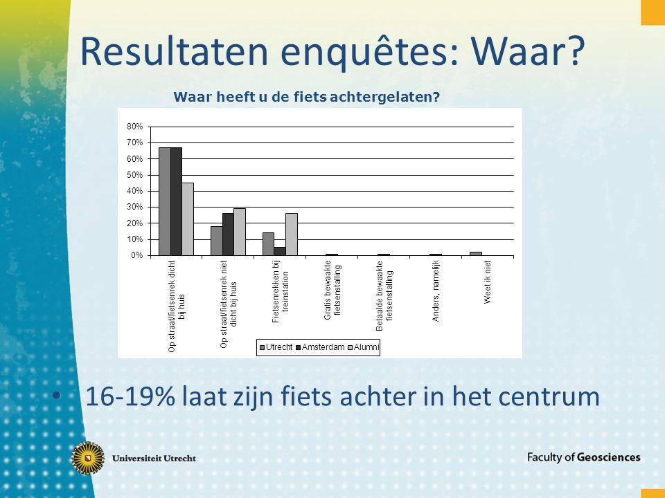 Resultaten enquêtes: Waar? 16-19% laat zijn fiets achter in het centrum Waar heeft u de fiets achtergelaten?