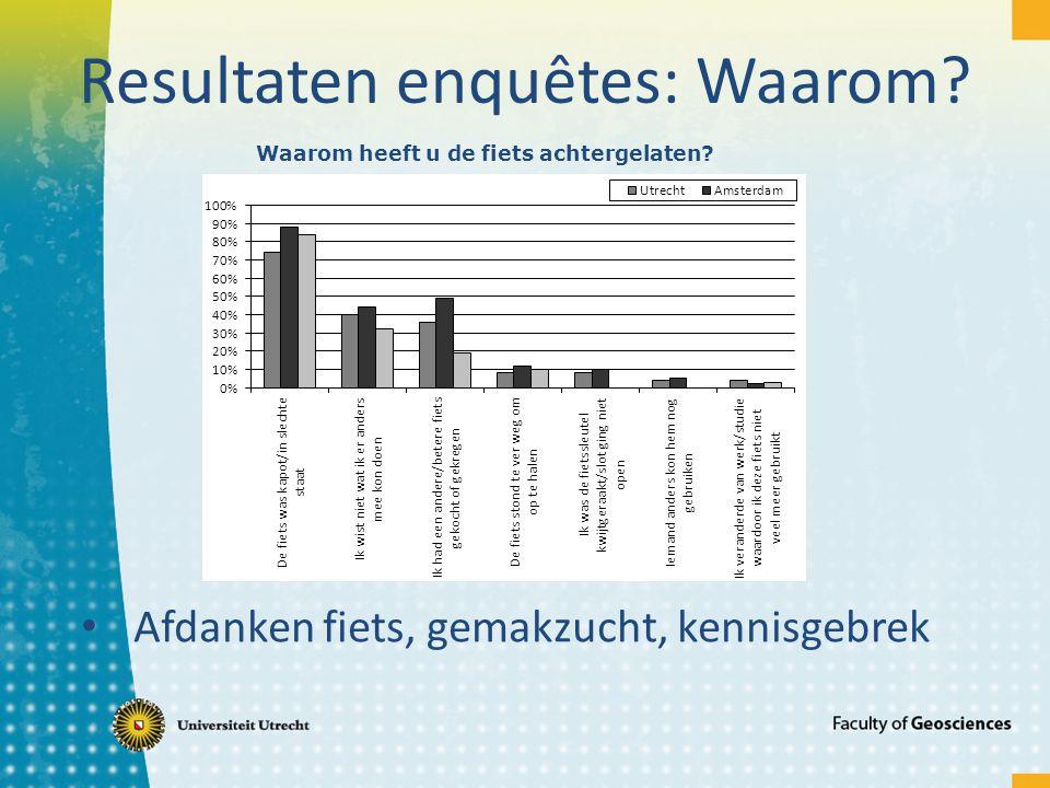 Resultaten enquêtes: Waarom? Afdanken fiets, gemakzucht, kennisgebrek Waarom heeft u de fiets achtergelaten?