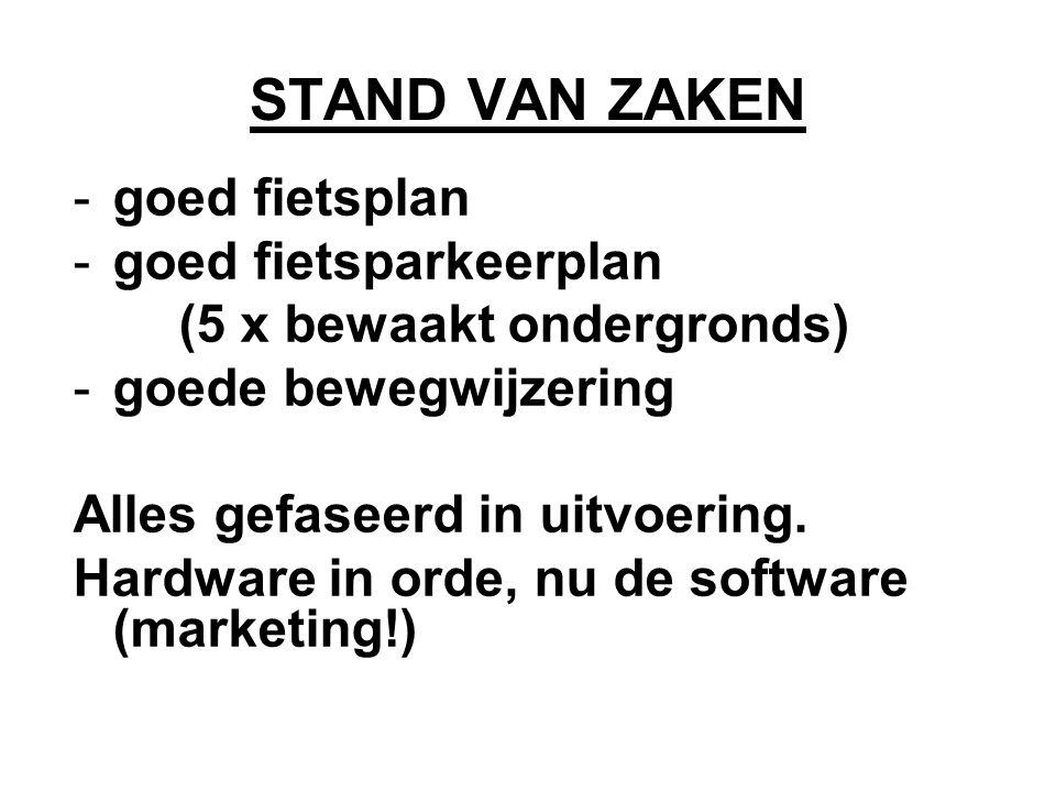 STAND VAN ZAKEN -goed fietsplan -goed fietsparkeerplan (5 x bewaakt ondergronds) -goede bewegwijzering Alles gefaseerd in uitvoering.