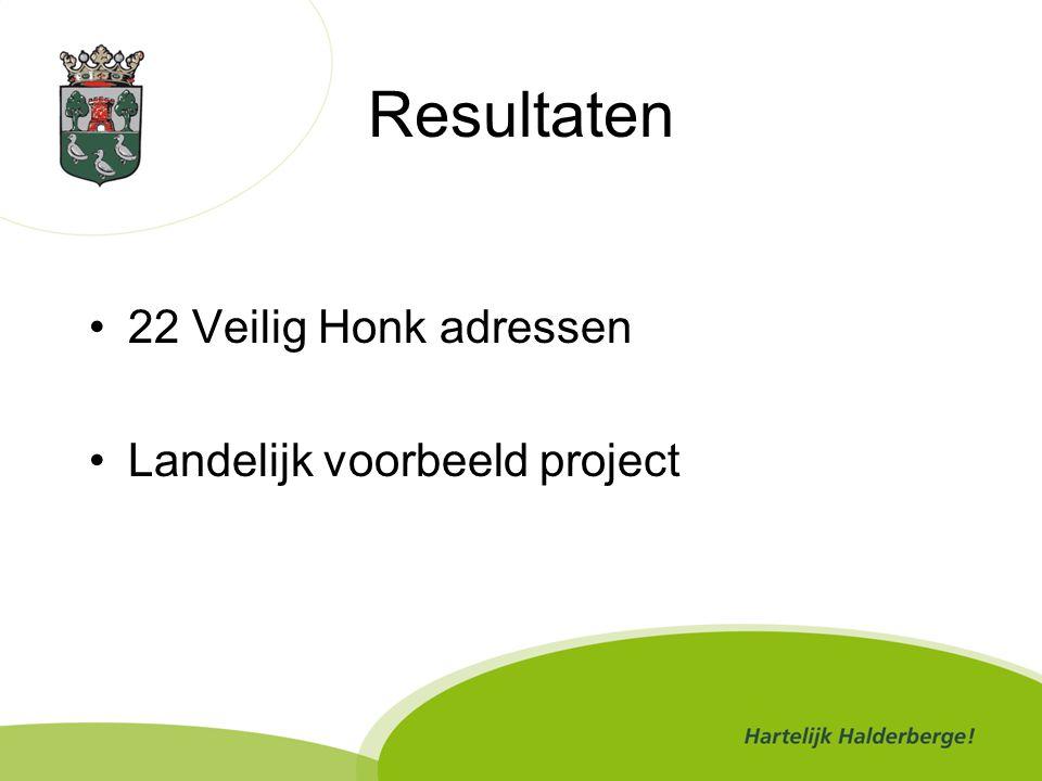 Resultaten 22 Veilig Honk adressen Landelijk voorbeeld project