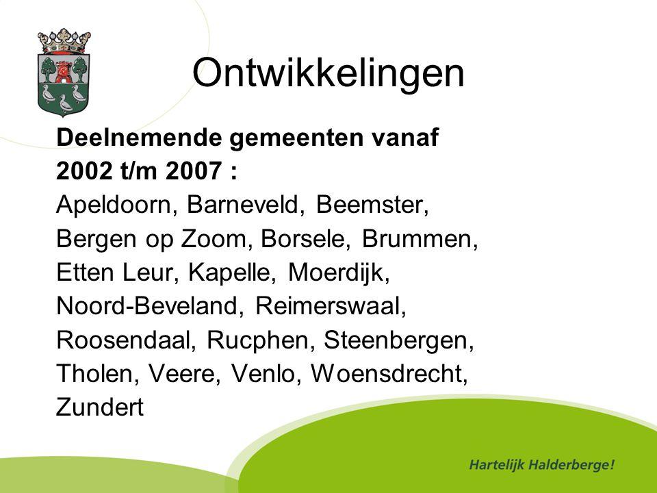 Deelnemende gemeente vanaf 2008 en 2009 Goes Goirle Horst aan de Maas Meerlo-Wanssum Sevenum Voorst Ouderkerk aan den IJssel